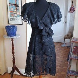 VTG NWT BB Collections Blk Boho Sheer Highlo Dress